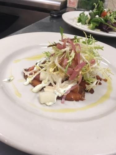Soy cured salmon with lime creme fraiche pickled red onion and asian pear salad