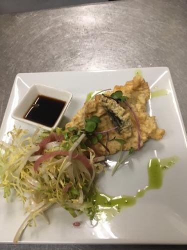 sea urchin and skate fish tempura with soy singer sauce