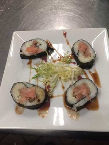 foie gras sushi rolls with sesame ginger chatelier sauce